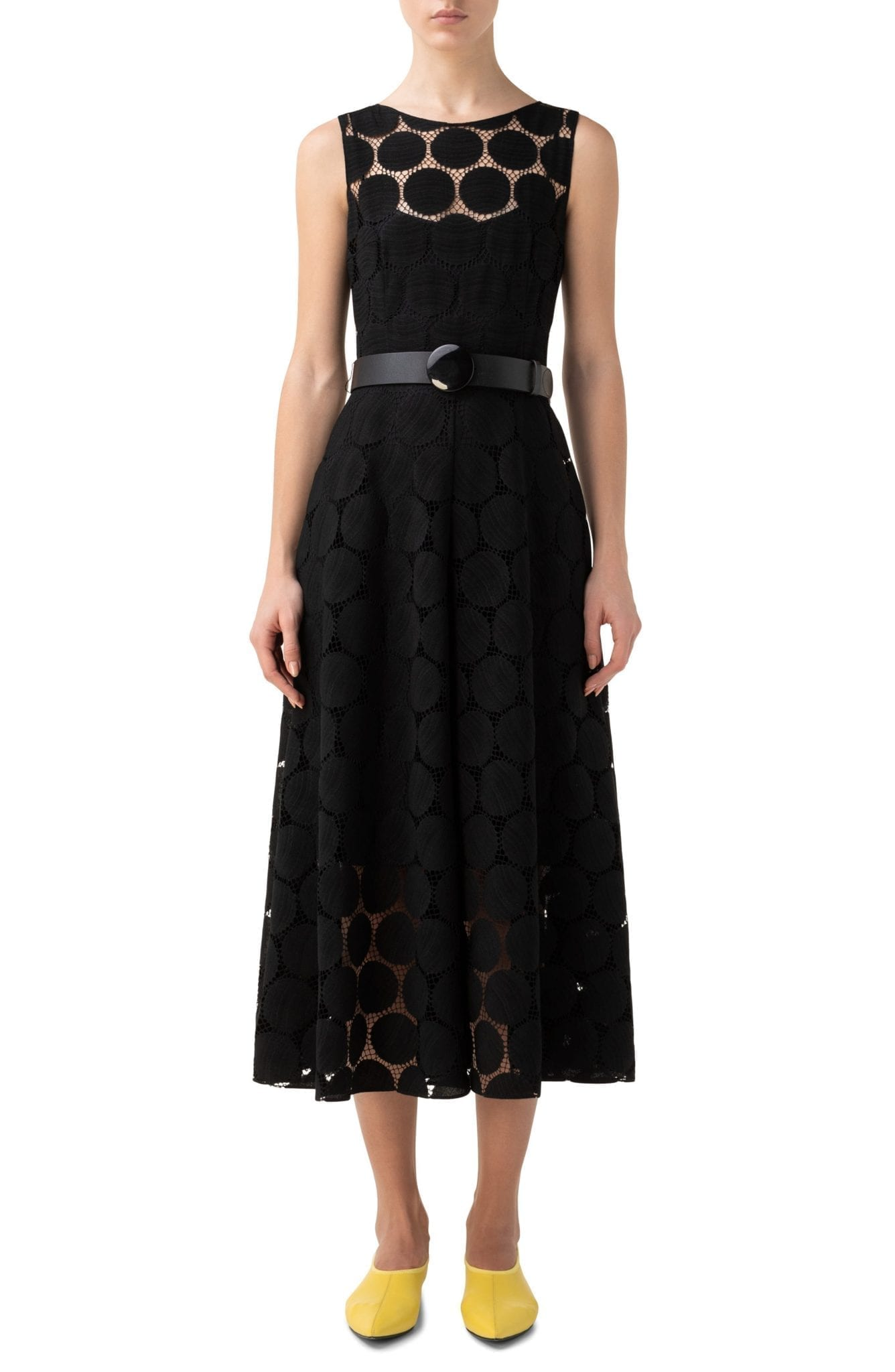 AKRIS PUNTO Dot Lace Sleeveless Dress