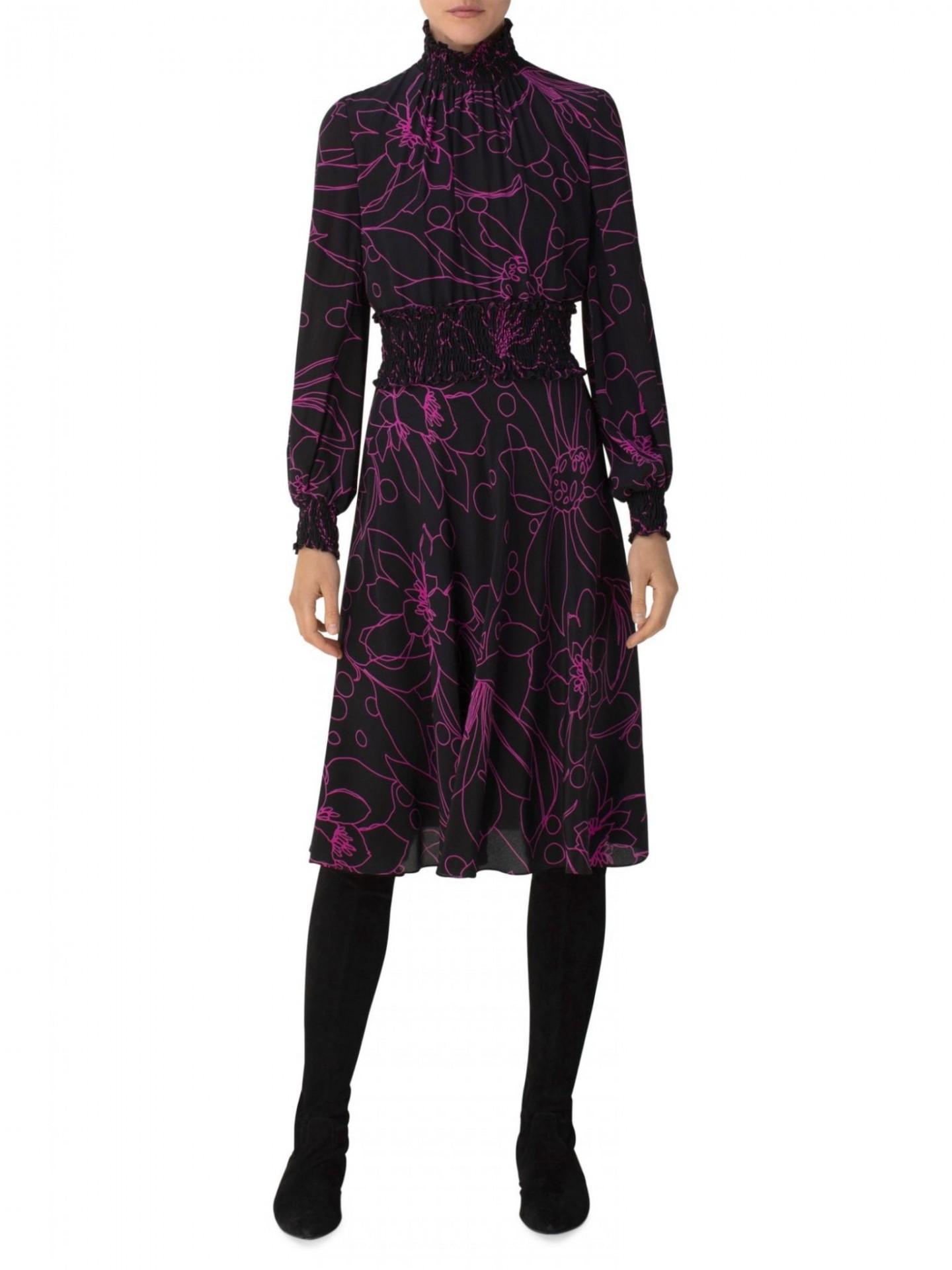 AKRIS PUNTO Sashiko Flower Silk Turtleneck Dress