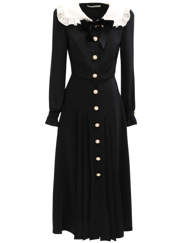 ALESSANDRA RICH Buttoned Silk Crepe De Chine Midi Dress