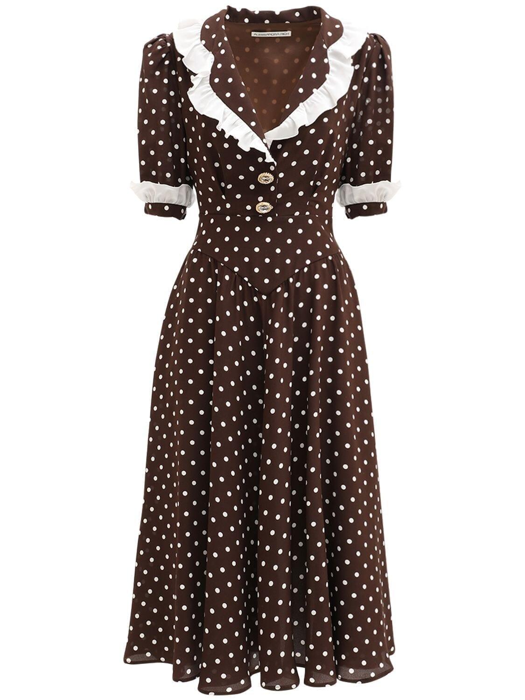ALESSANDRA RICH Polka Dots Ruffled Silk Midi Dress