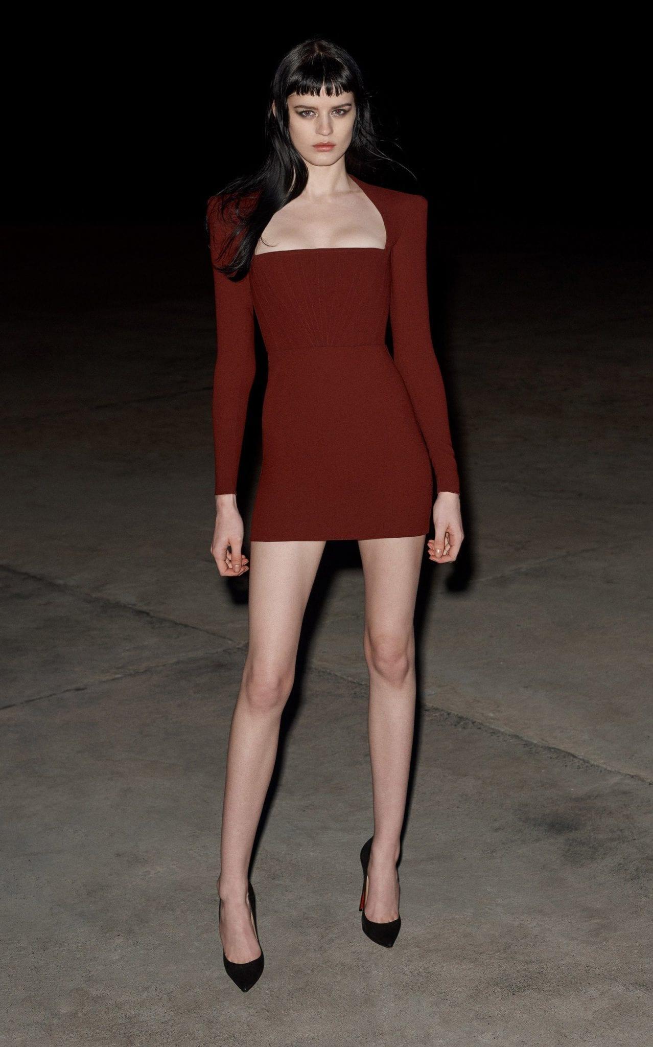 ALEX PERRY Benison Square-Neck Crepe Mini Dress