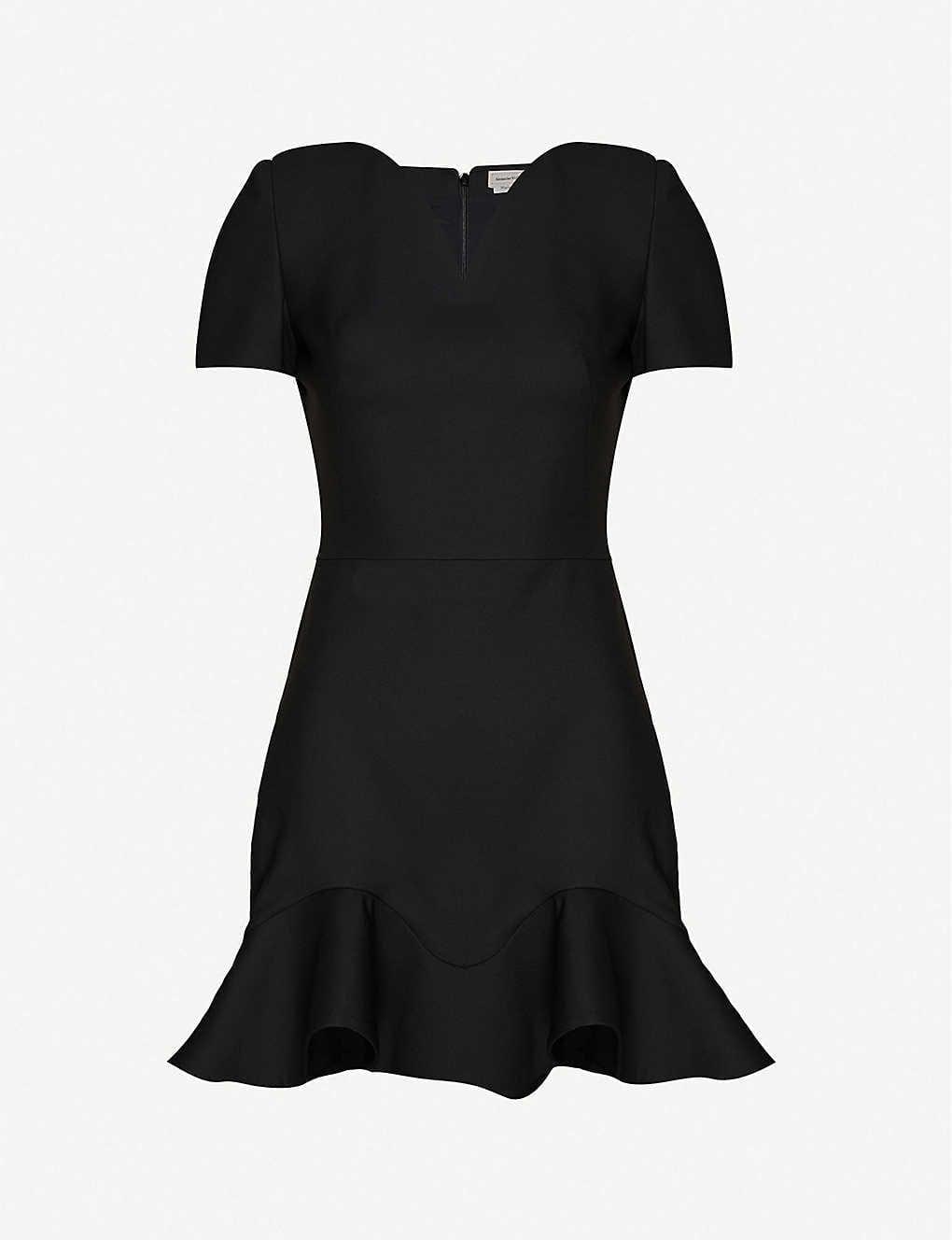 ALEXANDER MCQUEEN Heart Frill-trim Wool-blend Mini Dress