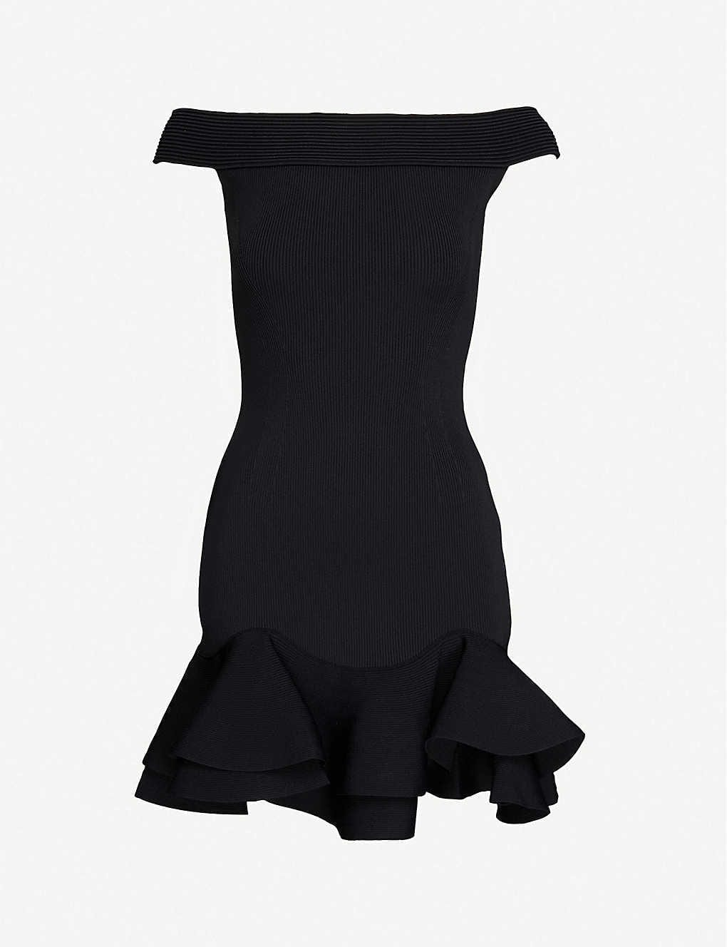 ALEXANDER MCQUEEN Off-the-shoulder Knitted Mini Dress