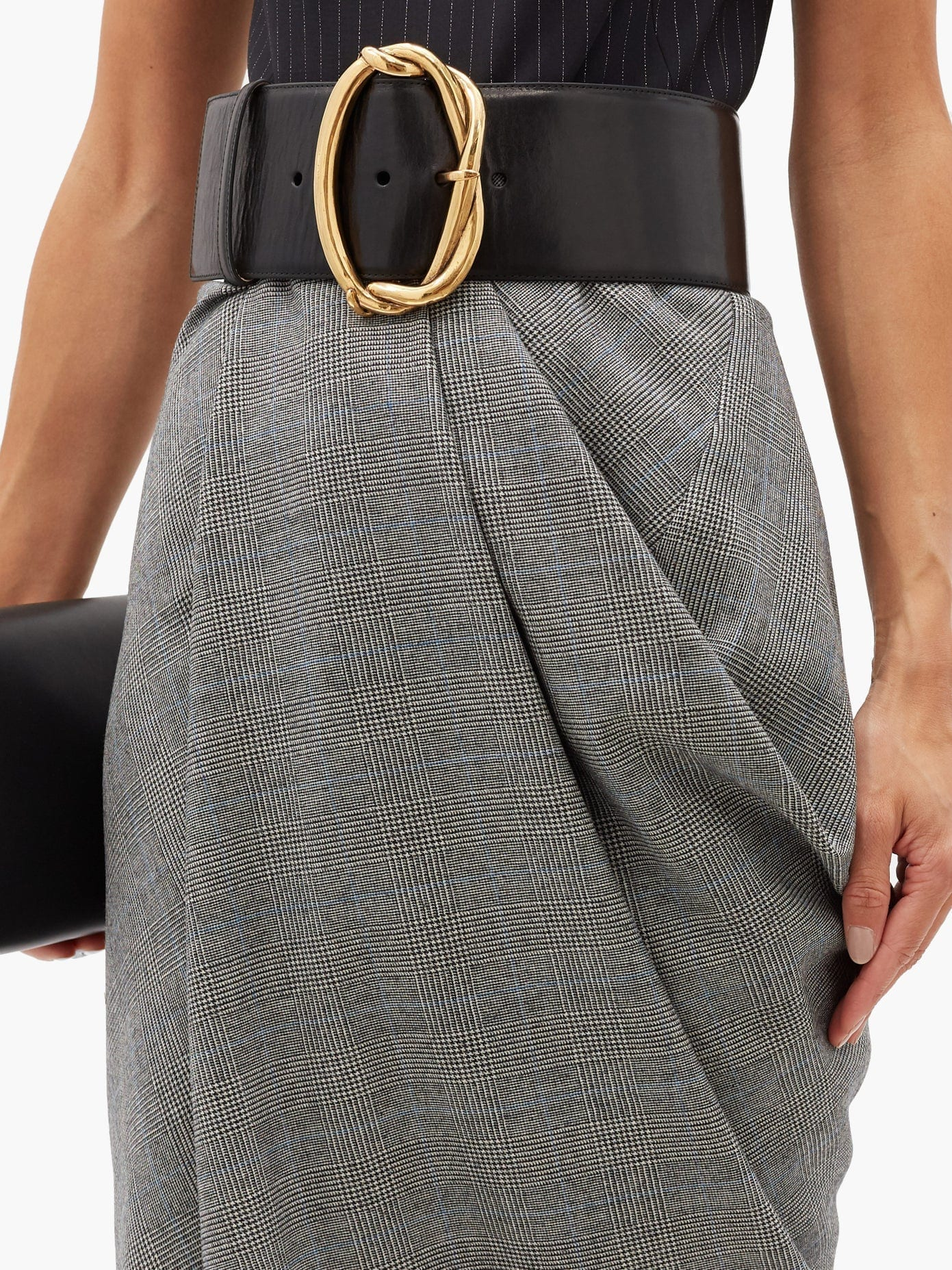 ALEXANDER MCQUEEN Pinstripe And Checked Wool-blend Midi Dress