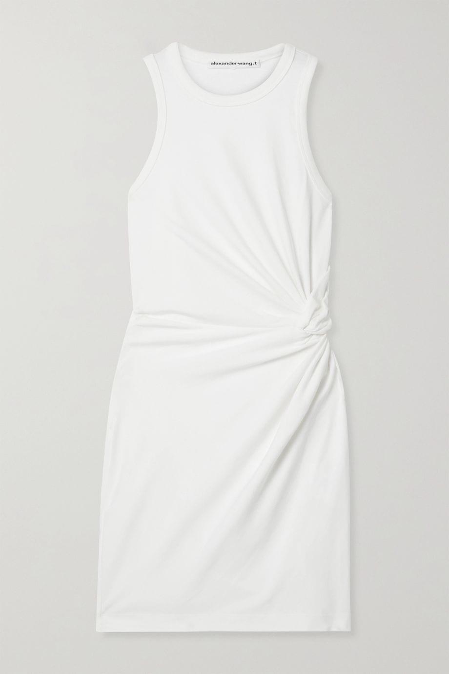 ALEXANDERWANG.T Knotted Cotton-blend Jersey Mini Dress