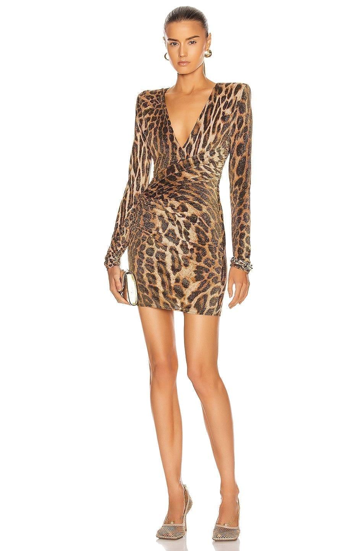 ALEXANDRE VAUTHIER Leopard Ruched Mini Dress