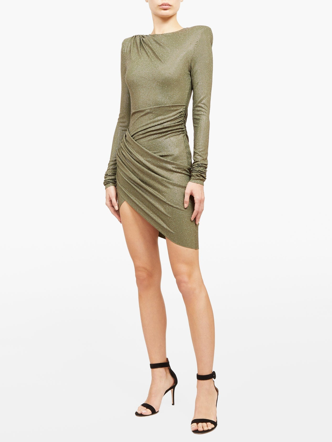 ALEXANDRE VAUTHIER Micro Crystal-embellished Wrap-front Mini Dress