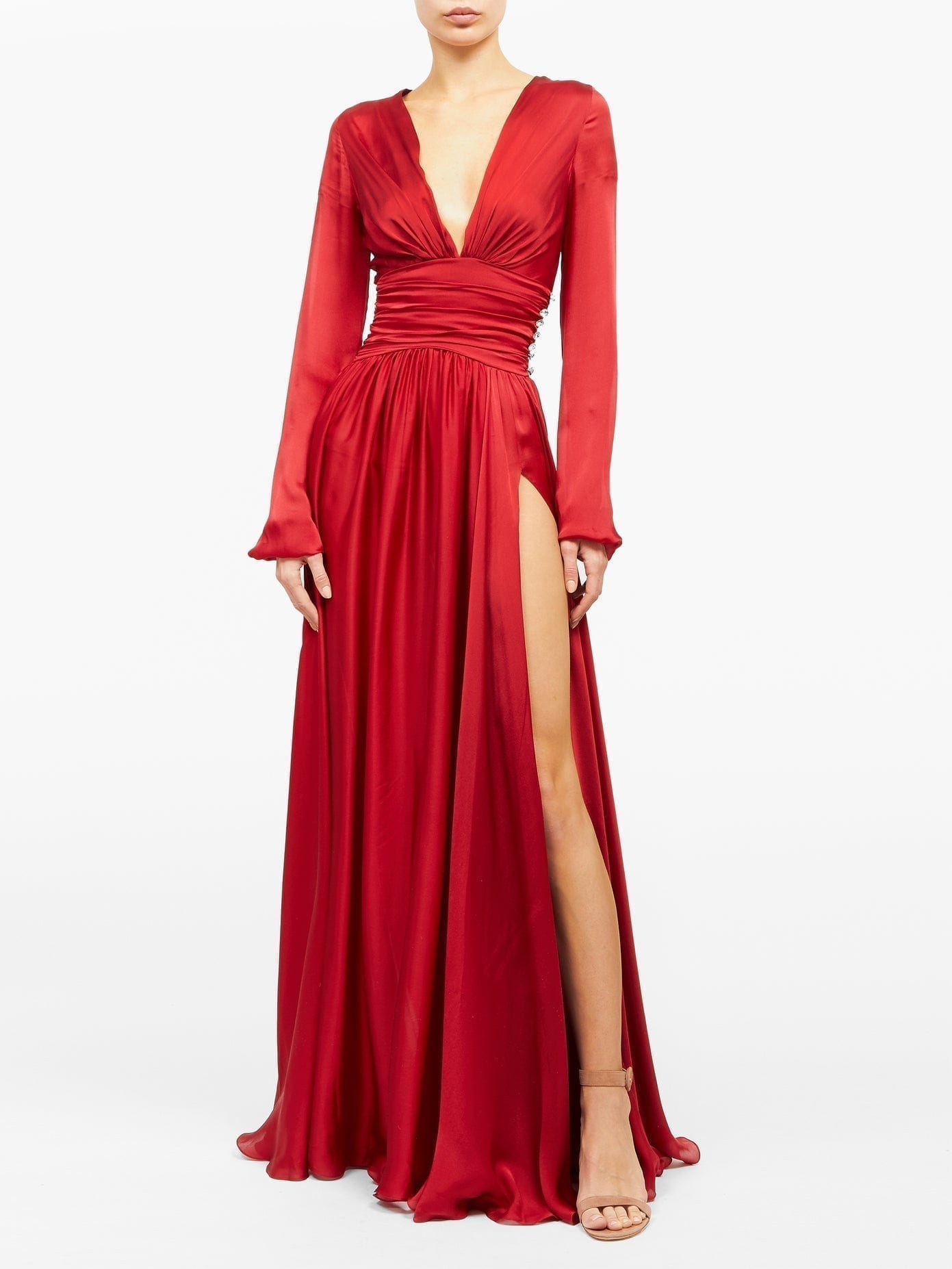 ALEXANDRE VAUTHIER Plunge-neck Side-slit Gown