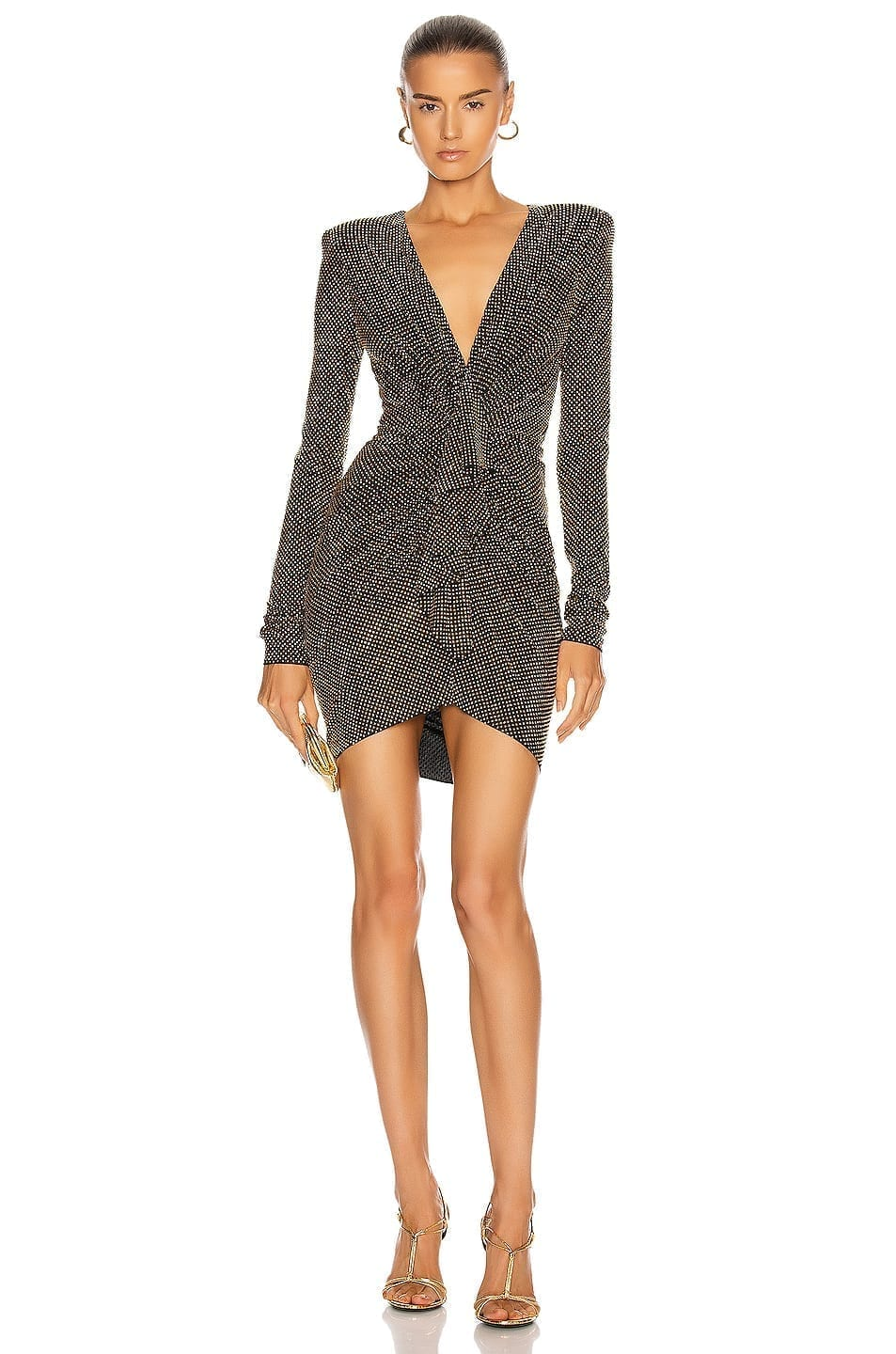ALEXANDRE VAUTHIER Studded Gathered Mini Dress