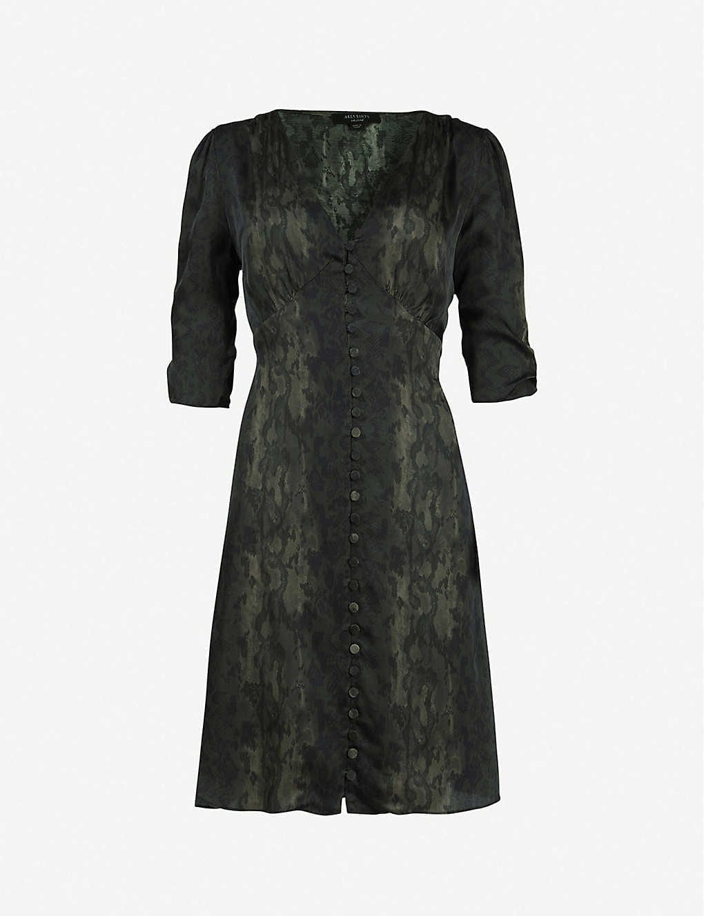 ALLSAINTS Kota Snakeskin-Print Crepe Mini Dress