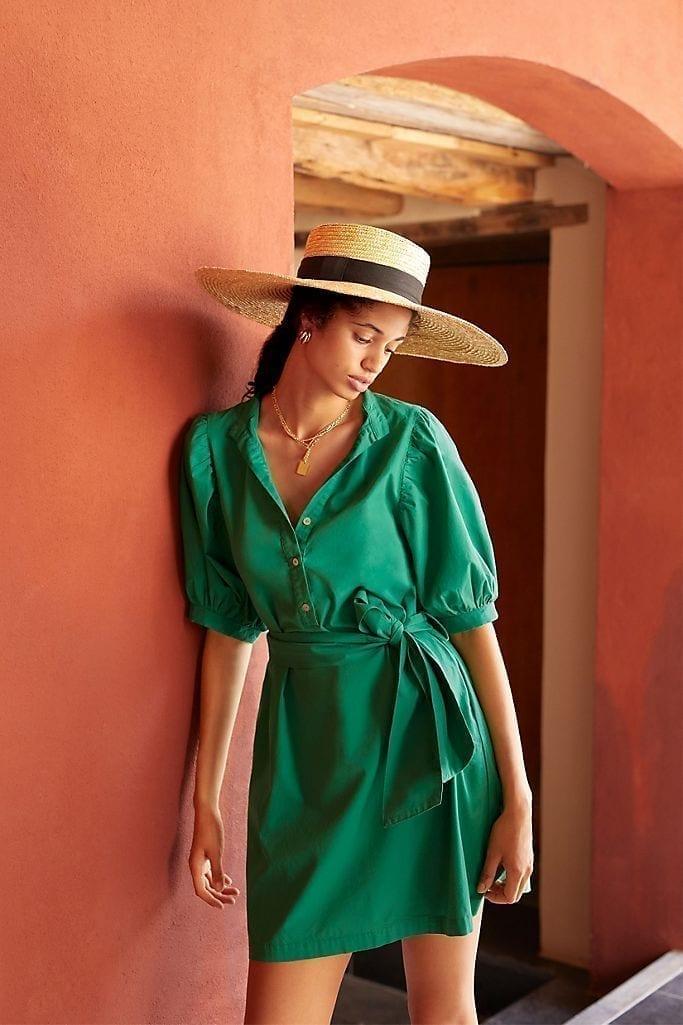 AMADI Glisy Puff-Sleeved Mini Shirt Dress
