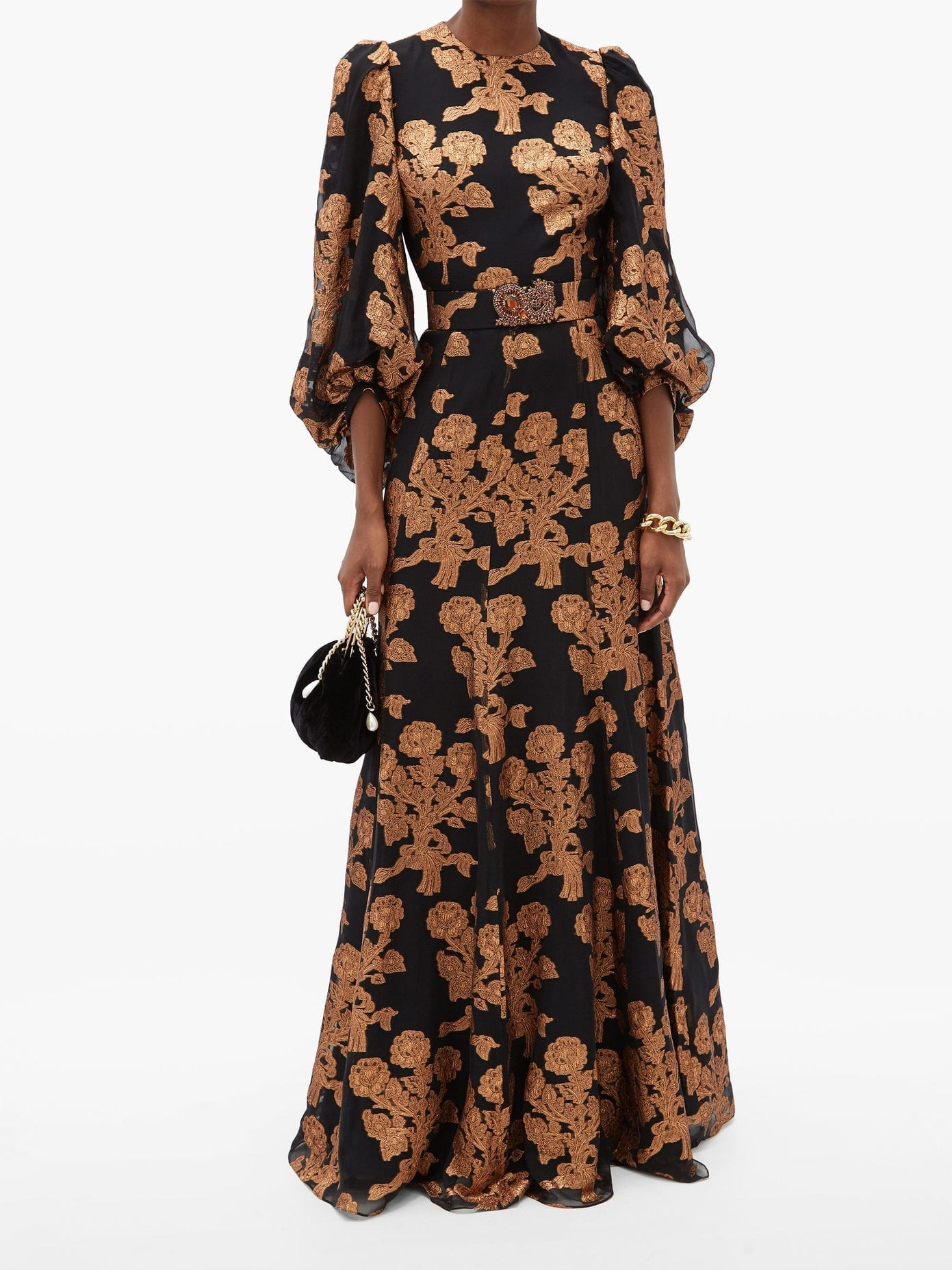 ANDREW GN Metallic Floral Fil-coupé Silk-blend Gown