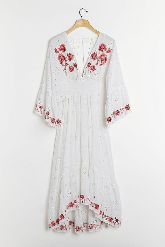 ANTHROPOLOGIE Corinne Embroidered Midi Dress