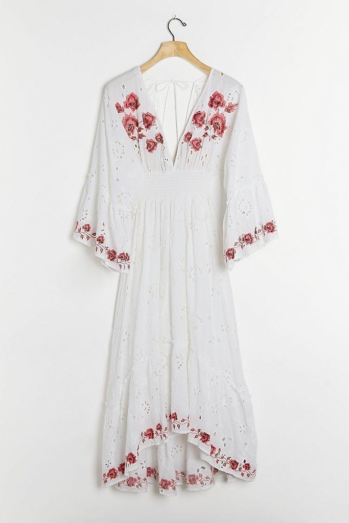 ANTHROPOLOGIE Corinne Embroidered Midi Dress