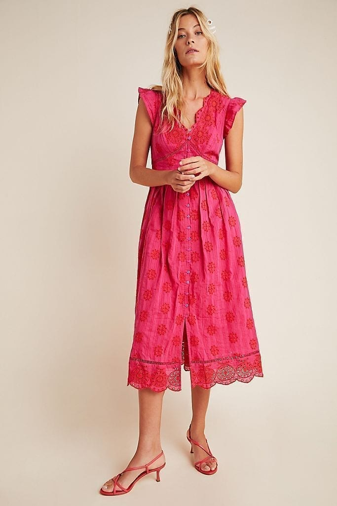 ANTHROPOLOGIE Embroidered Eyelet Midi Dress