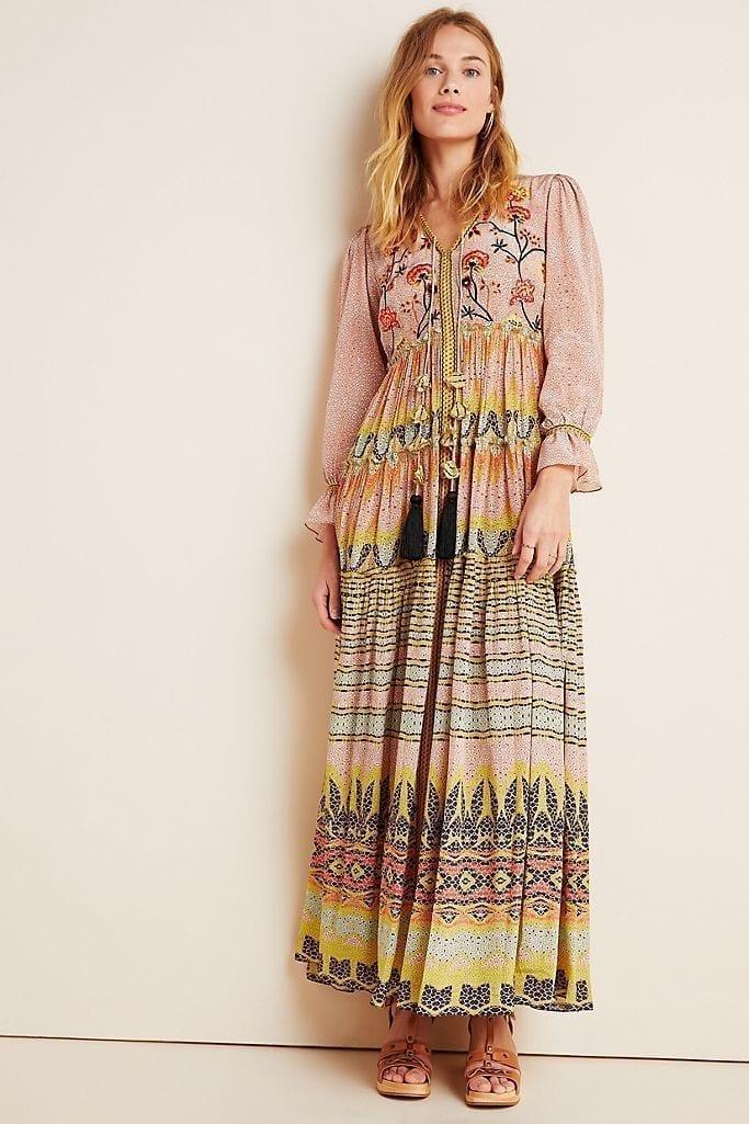 ANTHROPOLOGIE Giorgia Embroidered Maxi Dress