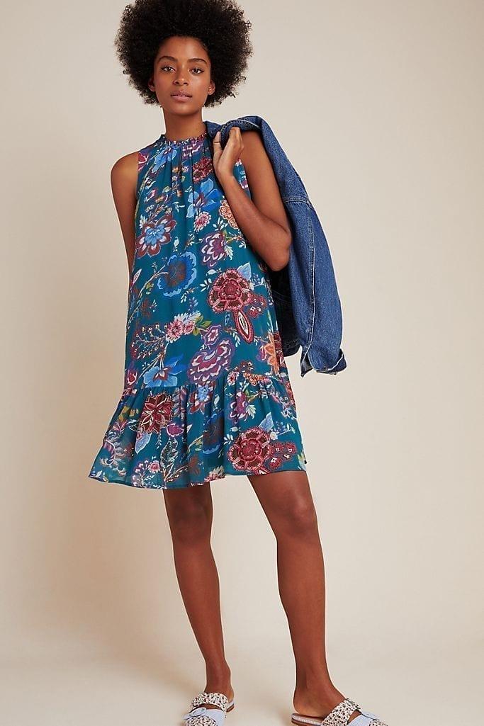ANTHROPOLOGIE Natalie Flounced Tunic Dress
