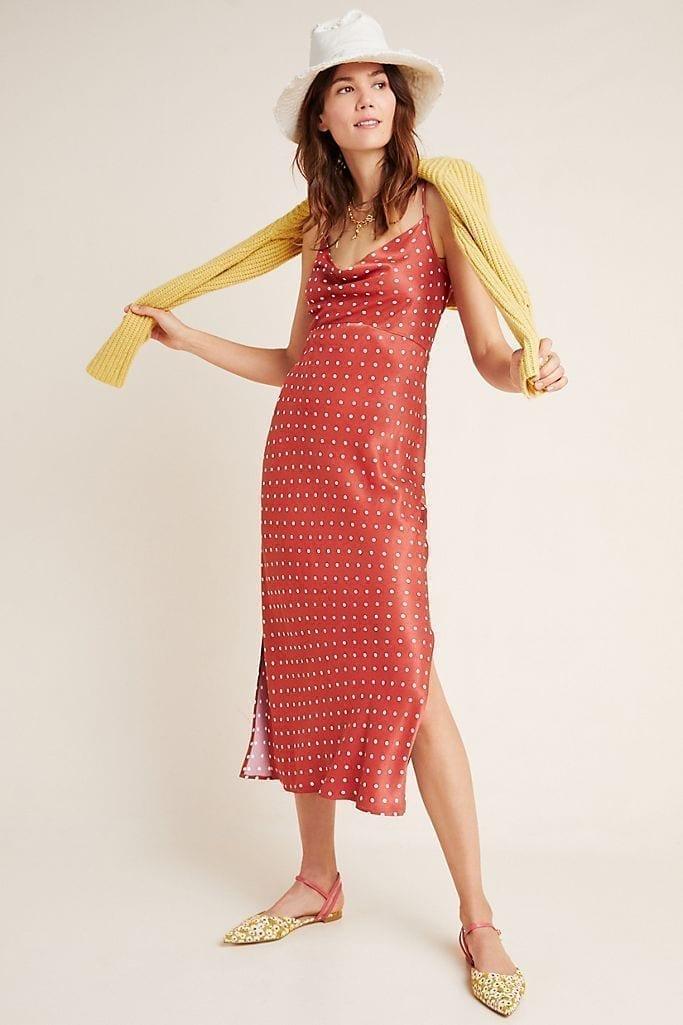 ANTHROPOLOGIE Printed Bias Slip Dress