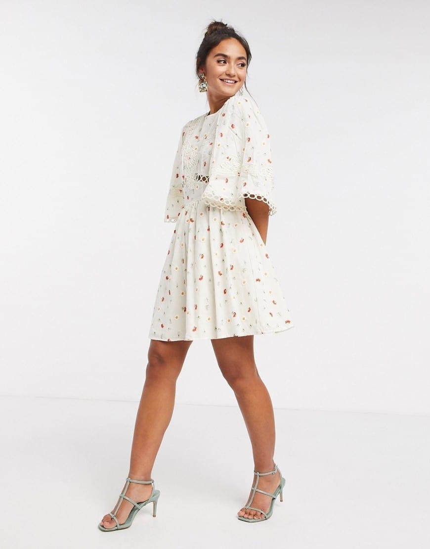 ASOS DESIGN All Over Embroidered Mini Skater Dress