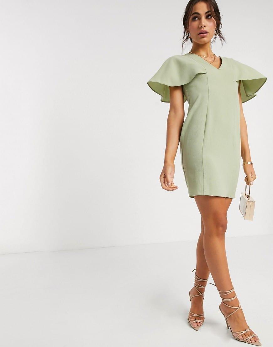 ASOS DESIGN Angel Sleeve V Neck Mini Shift Dress