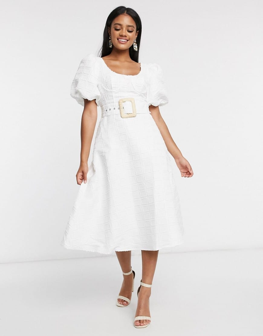 ASOS DESIGN Belt Puff Sleeves Cupped Midi Dress