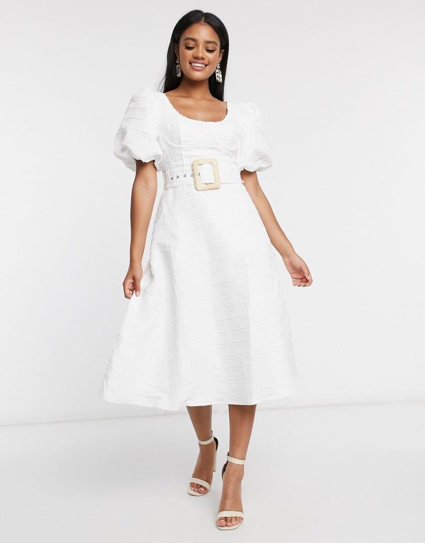 ASOS DESIGN Belt Puff Sleeves Cupped Midi Dress