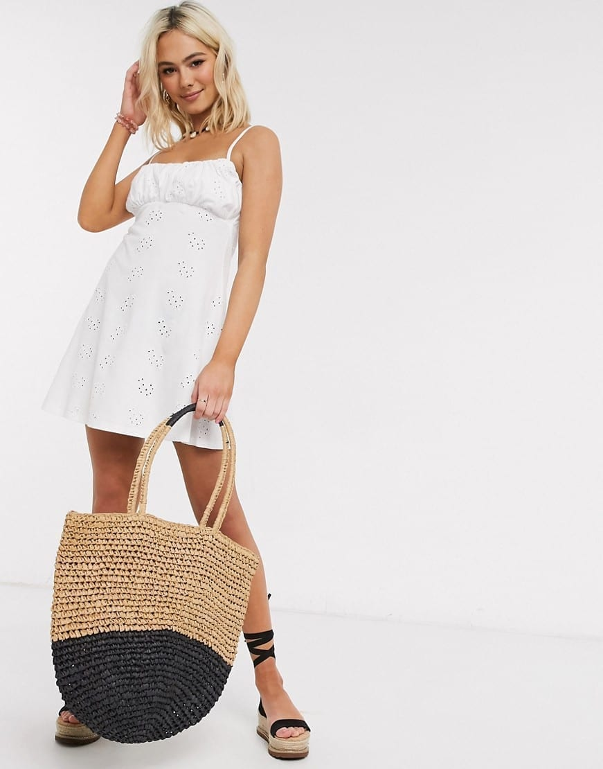ASOS DESIGN Broderie Ruched Front Mini Strappy Dress
