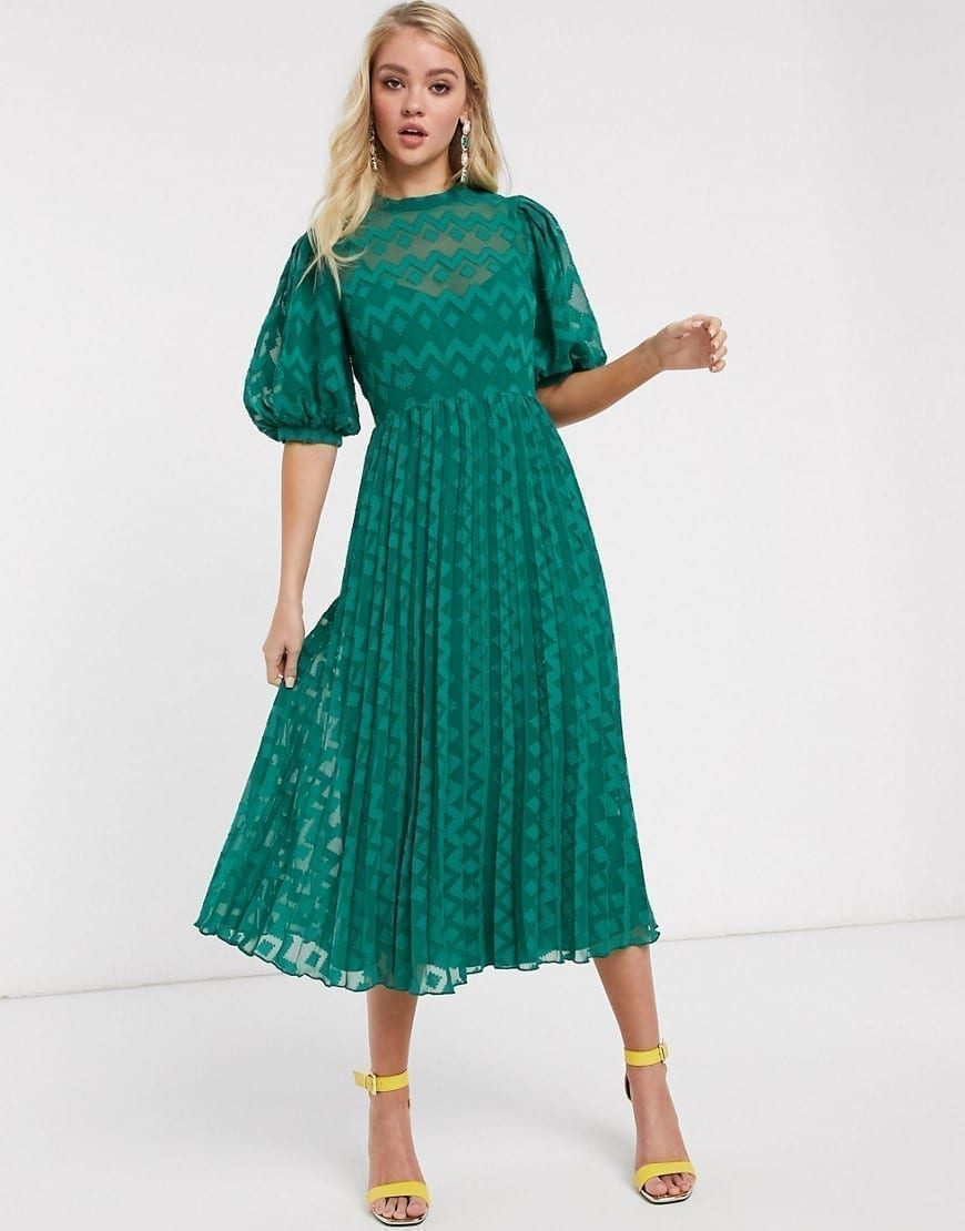 ASOS DESIGN High Neck Pleated Chevron Puff Sleeve Dobby Midi Dress