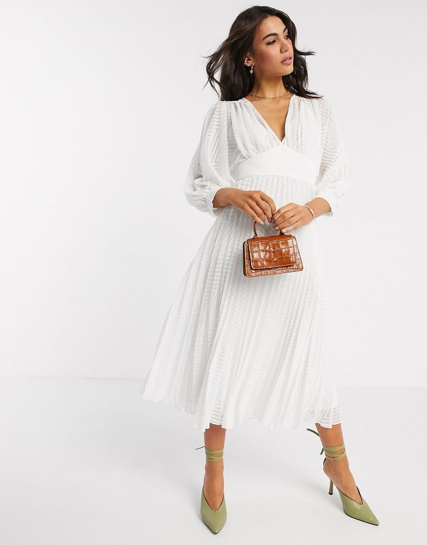 ASOS DESIGN Pleated Batwing Midi Dress
