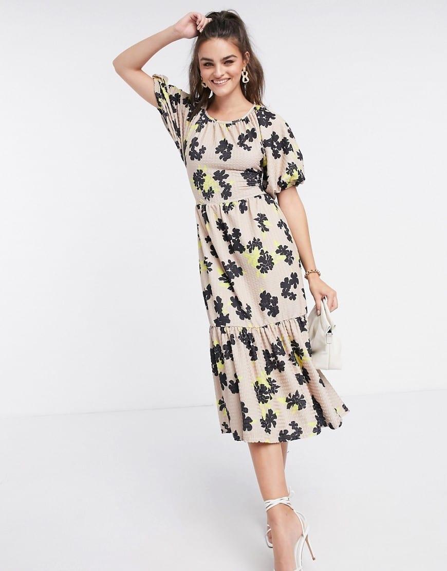 ASOS DESIGN Puff Sleeves Textured Midi Smock Dress