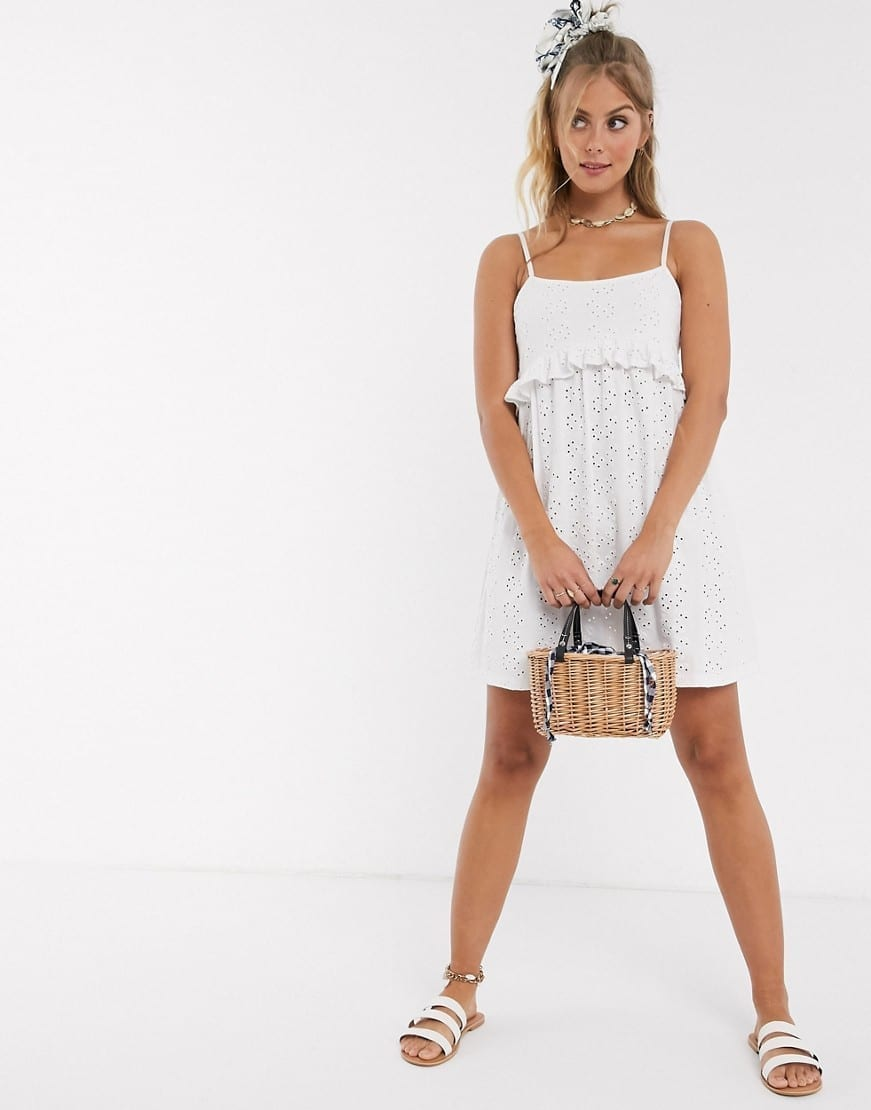 ASOS DESIGN Strappy Broderie Smock Sun Dress