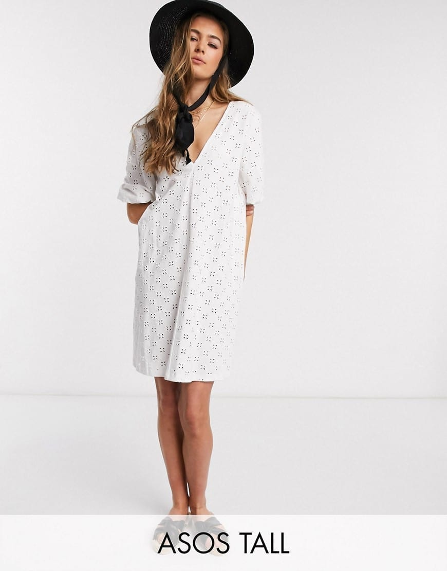 ASOS DESIGN Tall Broderie Puff Sleeve V Front Mini Swing Dress