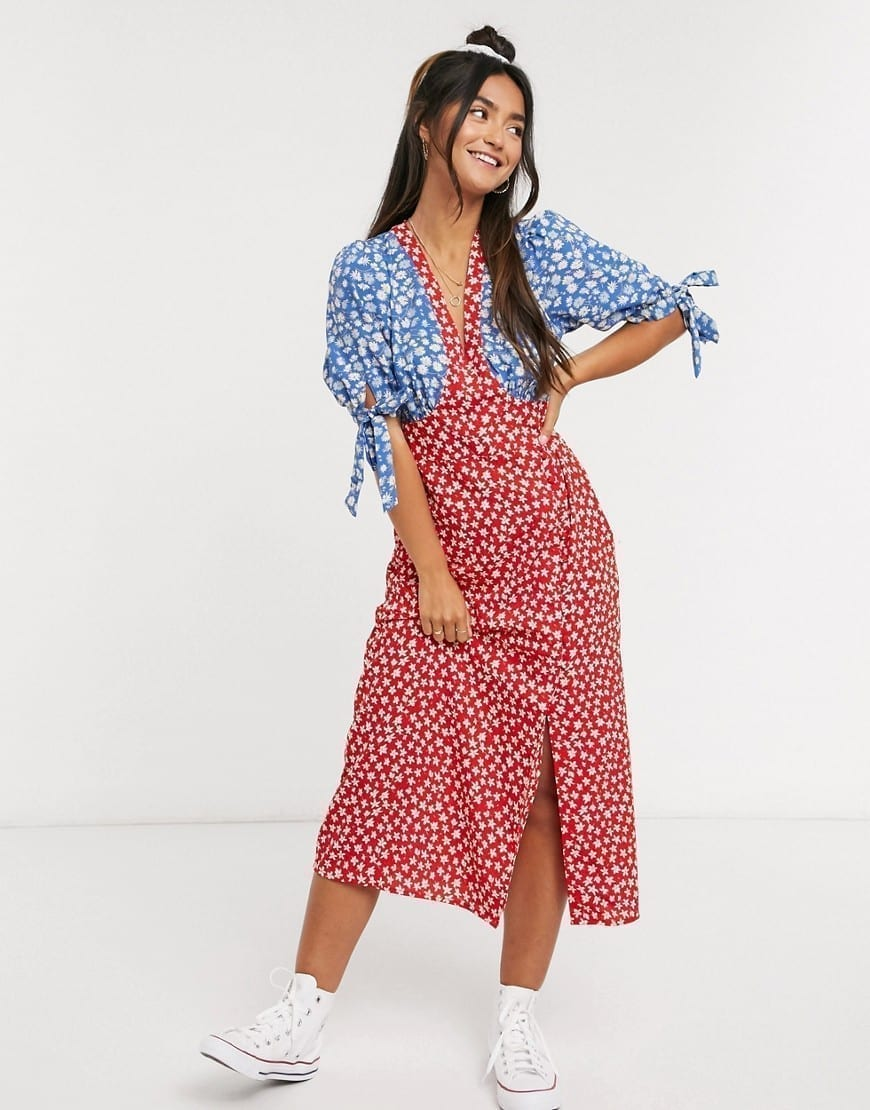 ASOS DESIGN Tie Sleeves And Buttons Midi Tea Dress