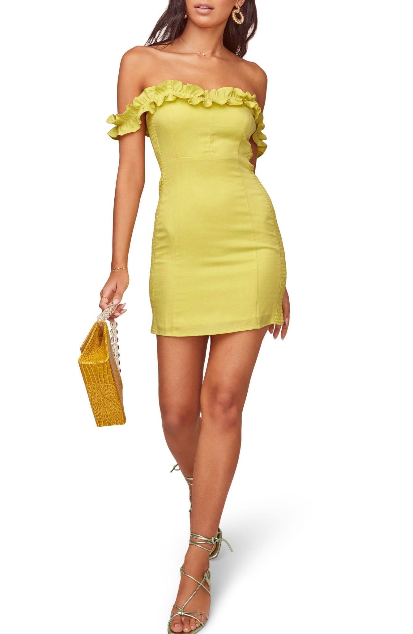 ASTR THE LABEL Renata Ruffle Neck Mini Dress