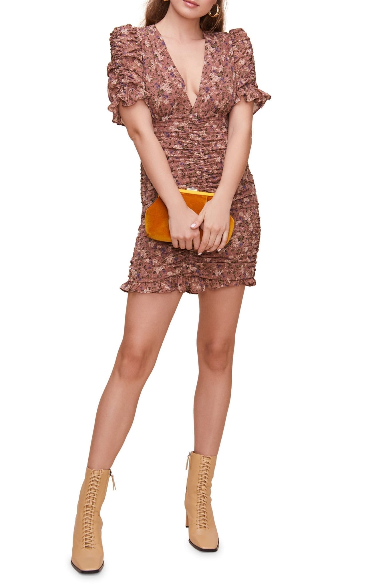 ASTR THE LABEL Short Sleeve Shirred Front Mini Dress