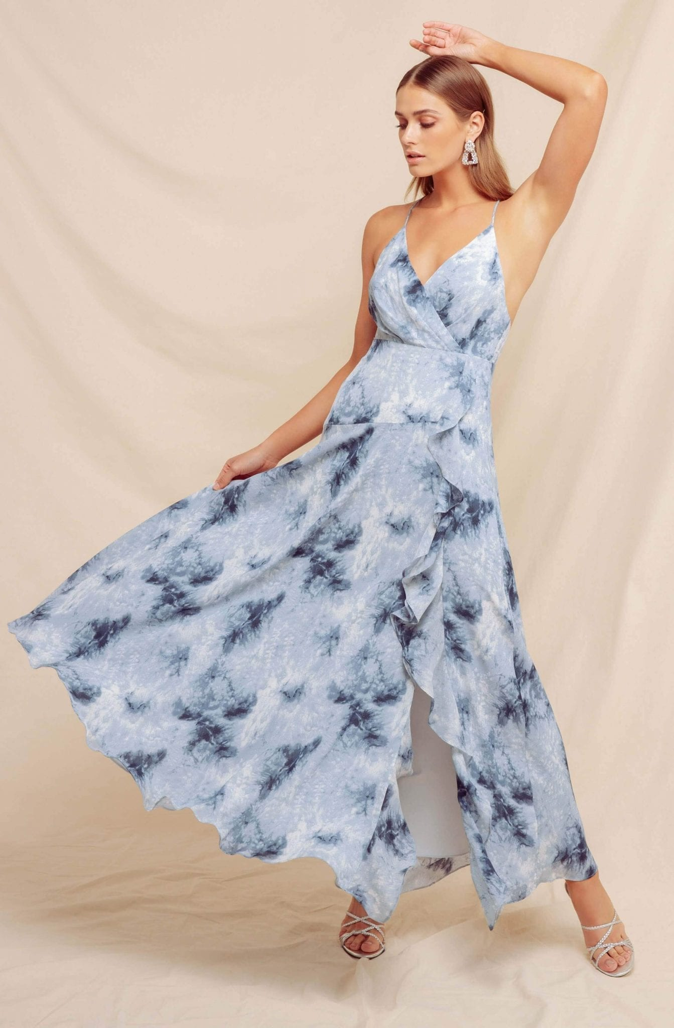 ASTRTHELABEL Holland Ruffle Tie Dye Maxi Dress