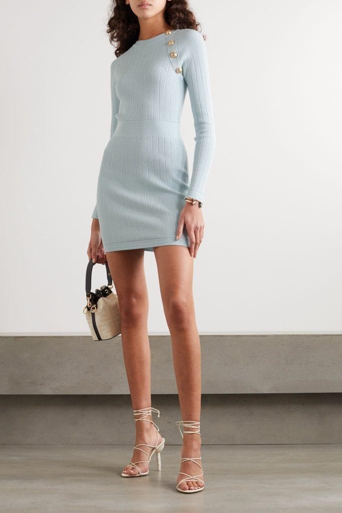 BALMAIN Button-embellished Ribbed-knit Mini Dress