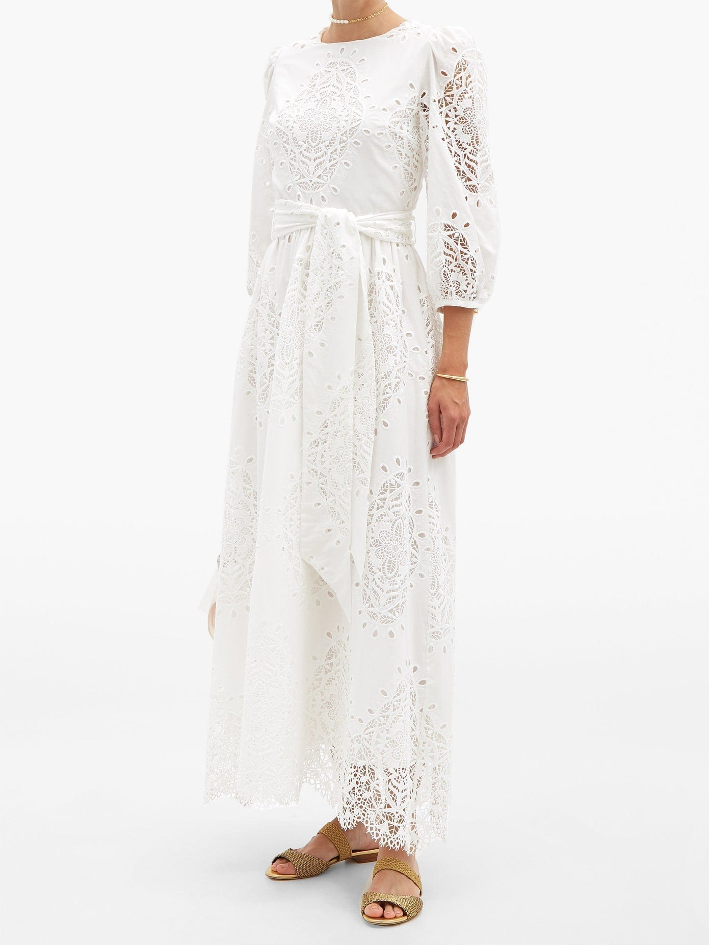 BORGO DE NOR Constance Broderie-angalise Belted Midi Dress