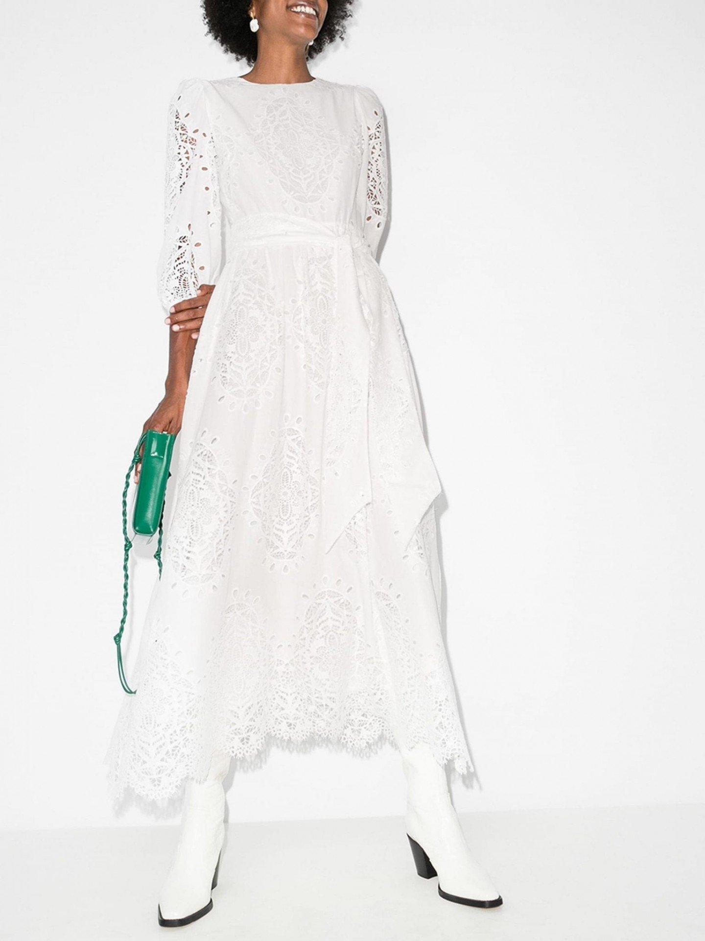 BORGO DE NOR Constance Lace Midi Dress