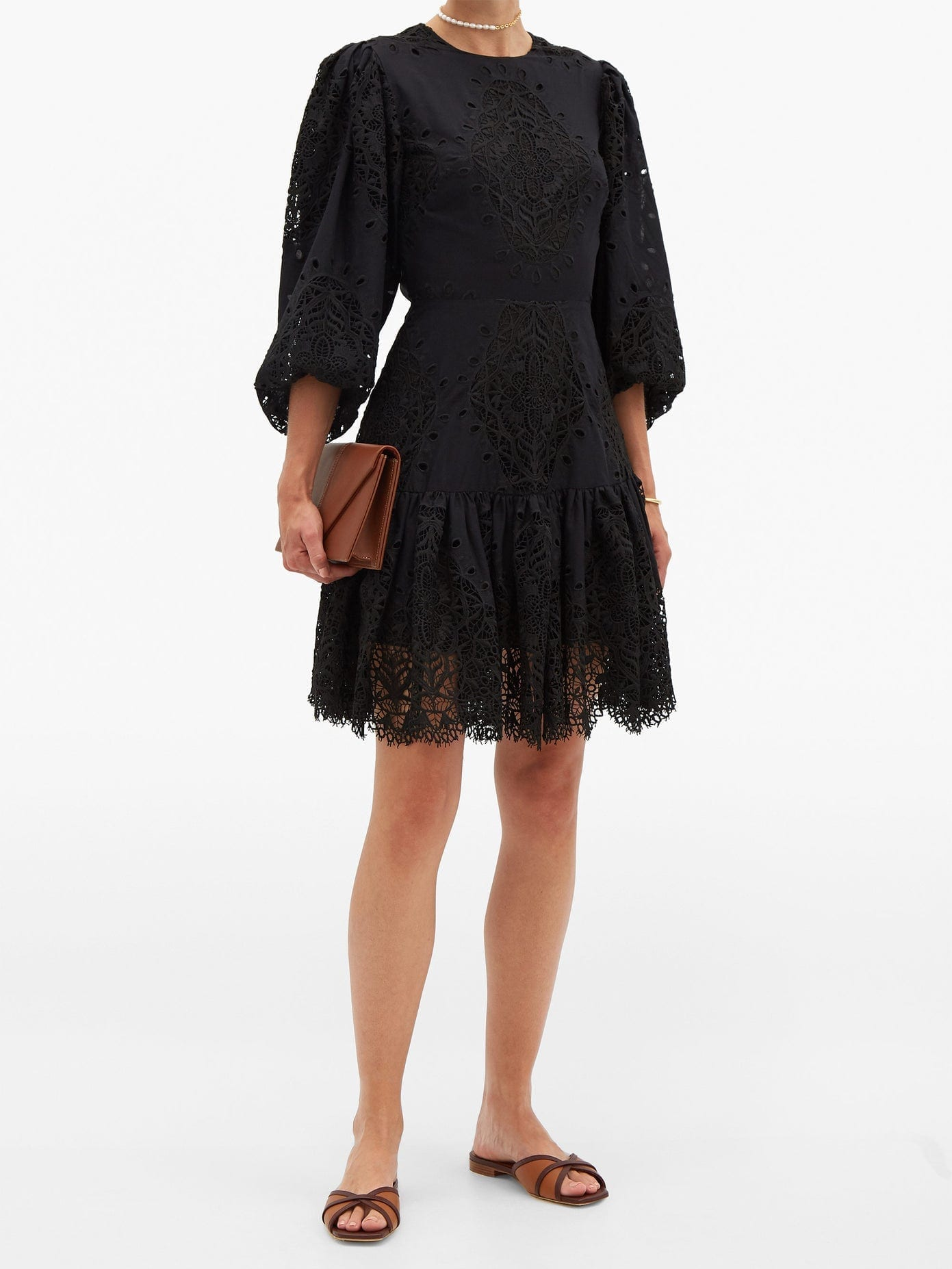 BORGO DE NOR Tabitha Open-back Lace-panel Poplin Mini Dress