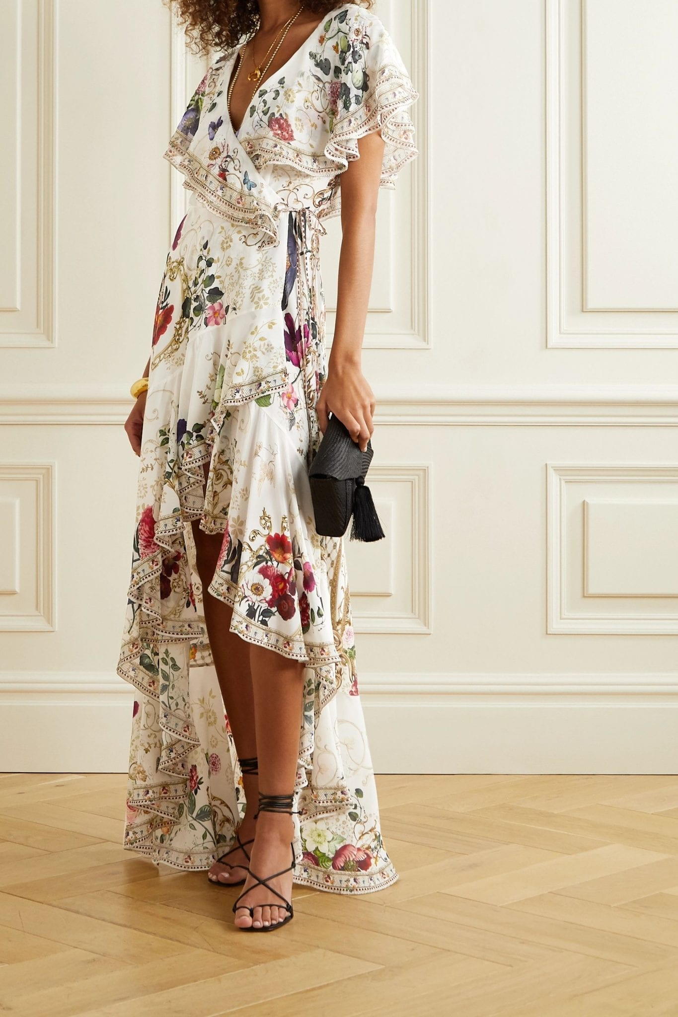 CAMILLA Ruffled Crystal-embellished Printed Silk Crepe De Chine Wrap Maxi Dress