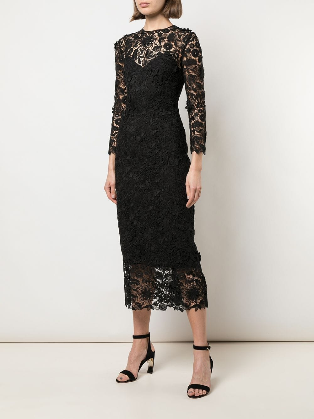 CAROLINA HERRERA Lace Midi Dress