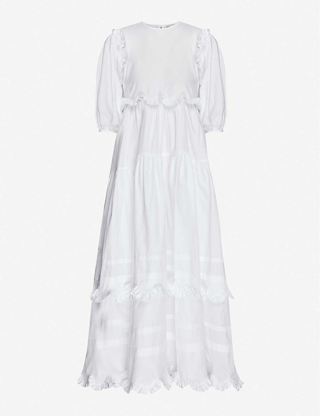 CECILIE BAHNSEN Maren Tiered-skirt Cotton Midi Dress