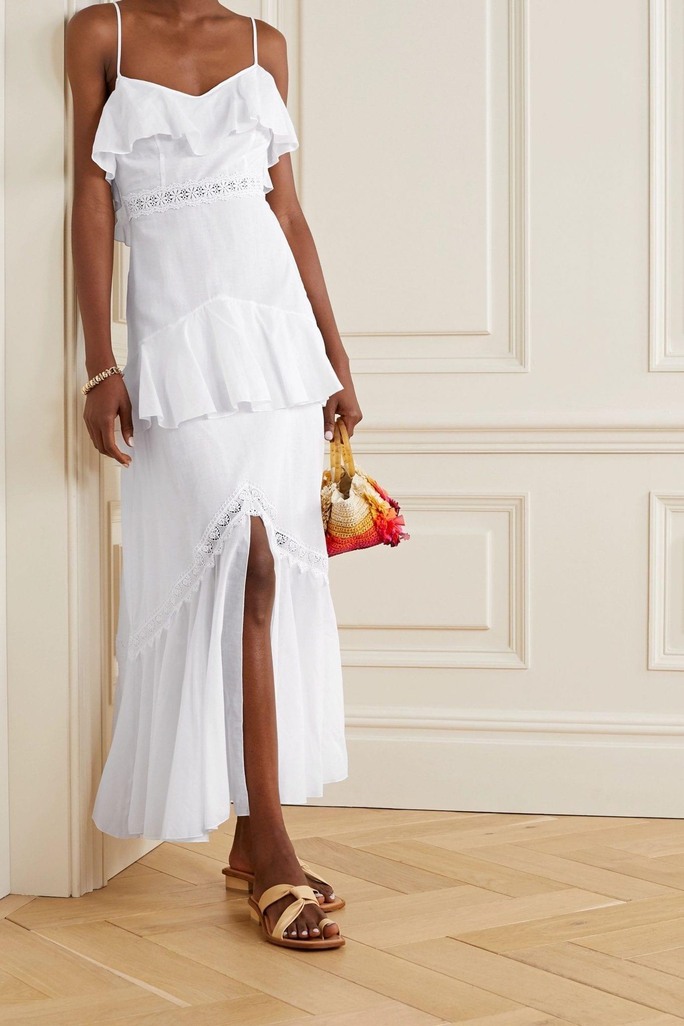CHARO RUIZ Celina Crochet-trimmed Ruffled Cotton-blend Voile Maxi Dress