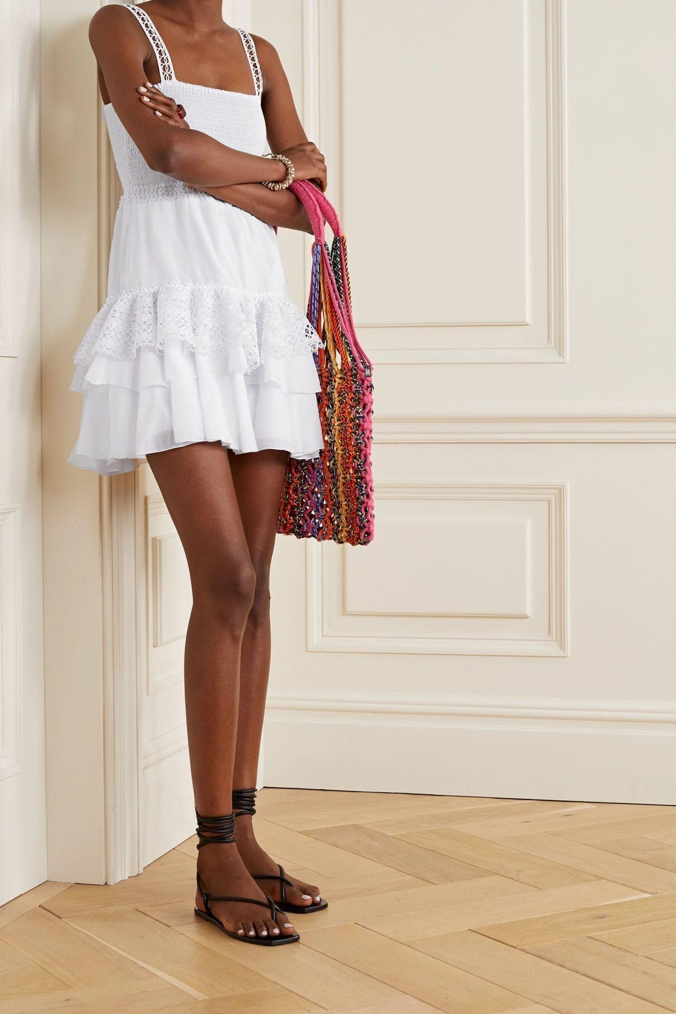 CHARO RUIZ Celina Crochet-trimmed Ruffled Cotton-blend Voile Mini Dress