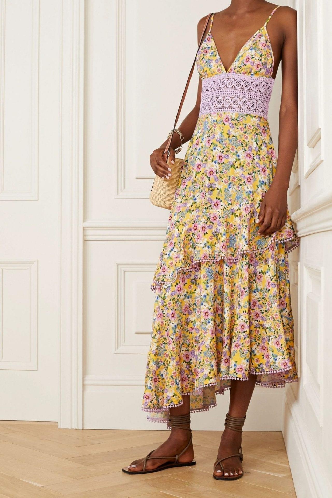 CHARO RUIZ Mara Crochet-trimmed Ruffled Floral-print Voile Maxi Dress