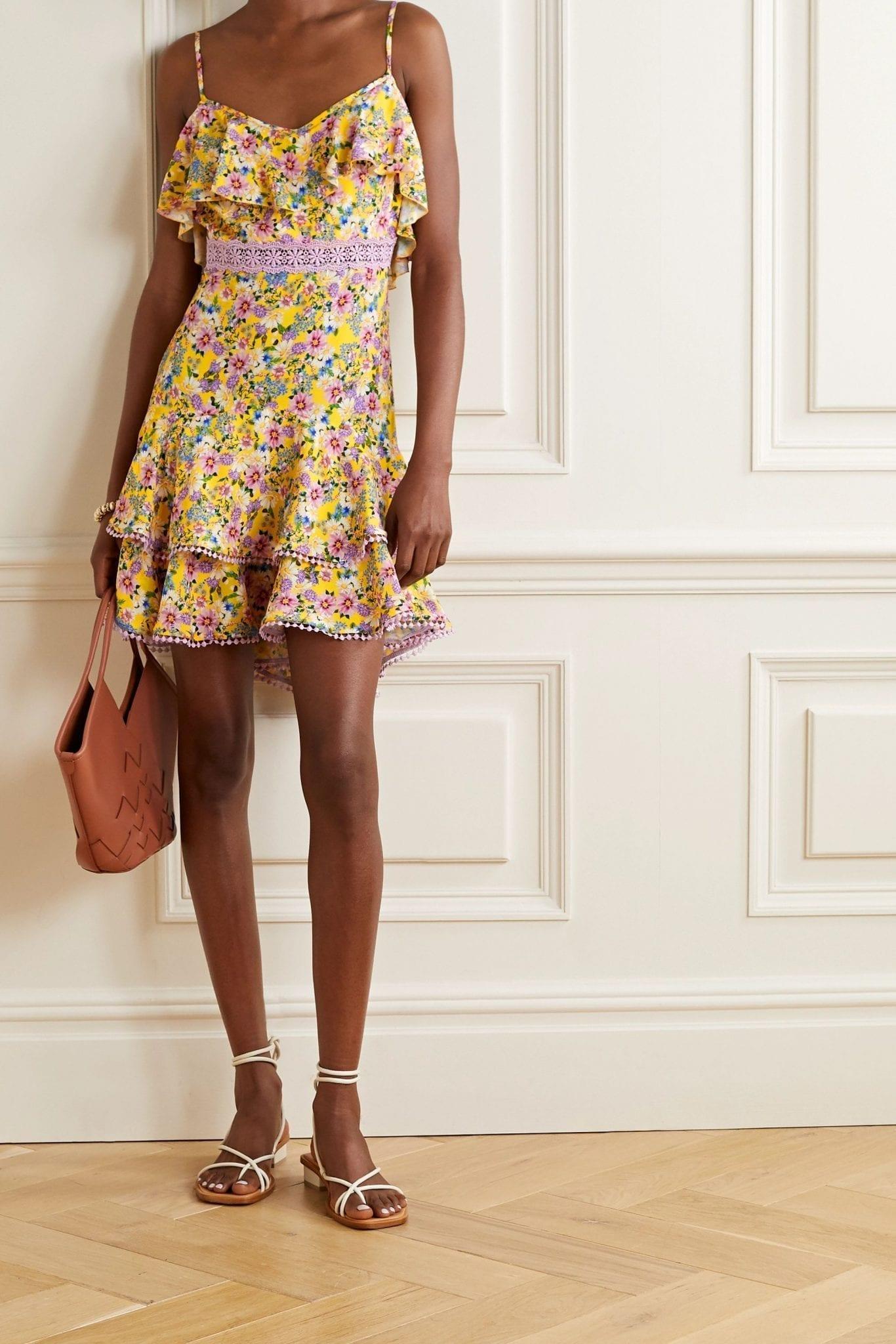 CHARO RUIZ Milly Crochet-trimmed Ruffled Floral-print Voile Mini Dress