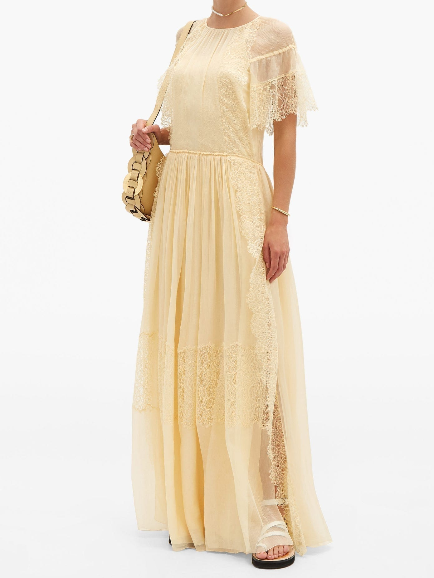 CHLOÉ Lace-sleeve Silk Maxi Dress
