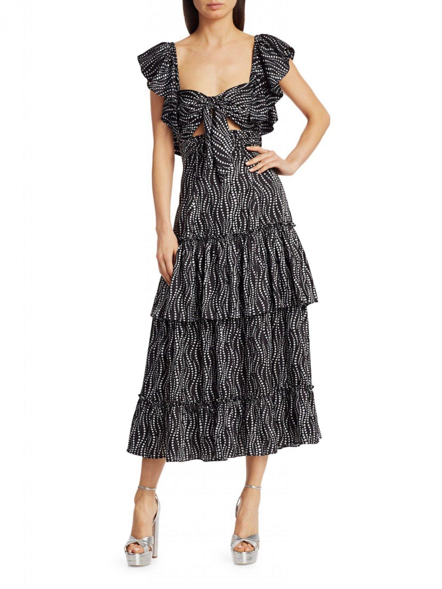 CINQ À SEPT Valerie Knotted Tier Midi Dress
