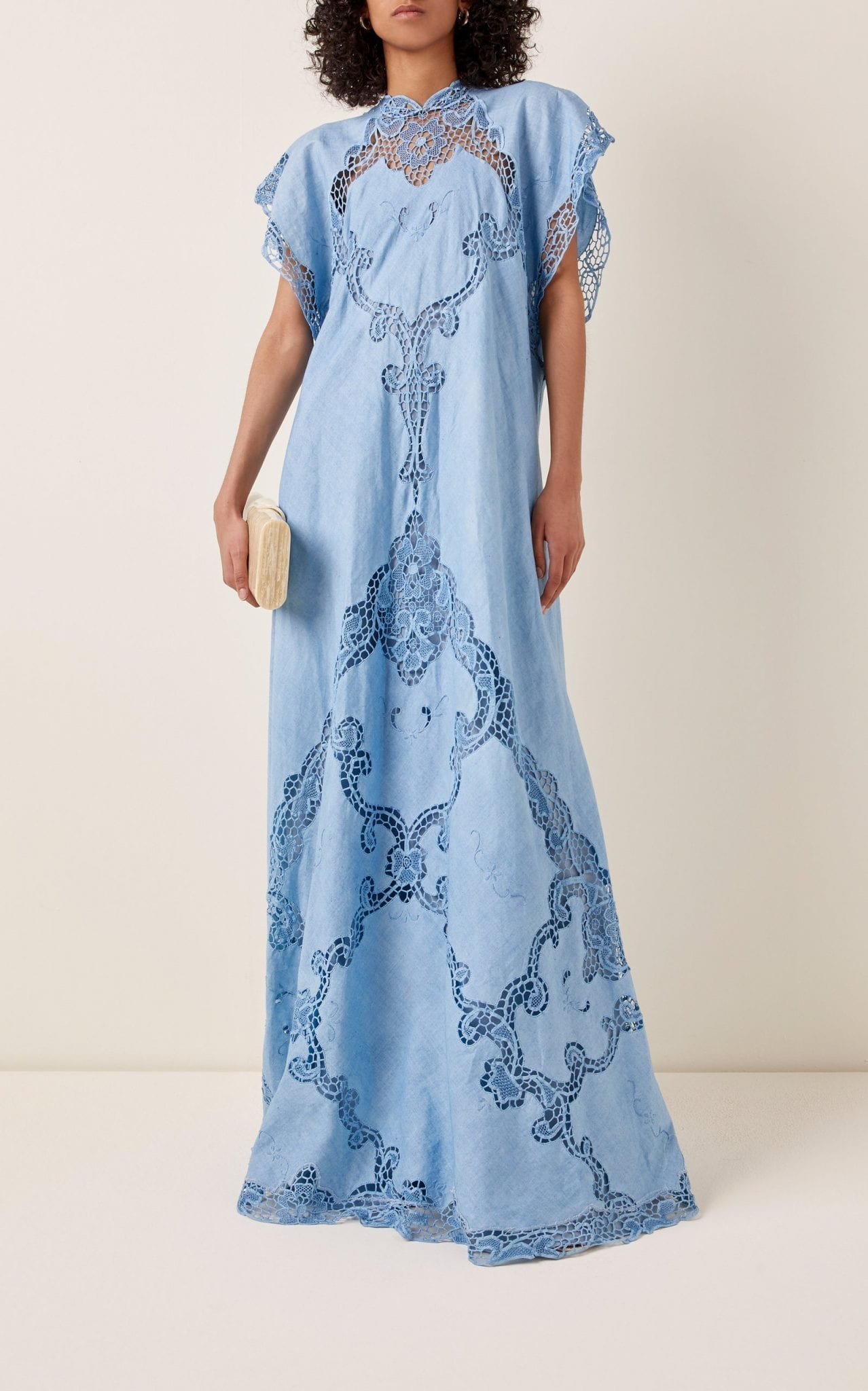 COSTARELLOS Alinna Lace-Detailed Linen-Cotton Caftan Dress